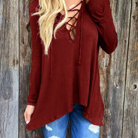 Burgundy Plunge Lace Up Front Long Sleeve Hooded T-shirt