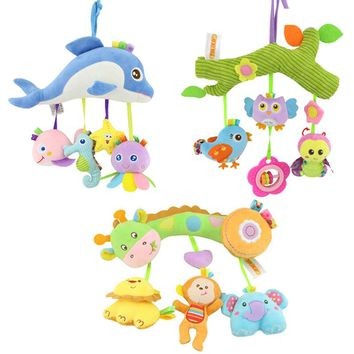 Baby Rattle Toys for a Stroller Animal Doll Crib Hanging Teethers Mobile on the Bed Rattles Educational Toys for Newborn Babies