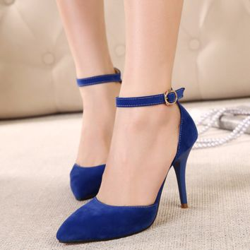Cool Casual Close Toe Ankle Strap Work Heels
