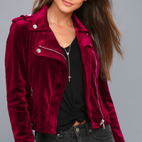 Take Me For a Ride Burgundy Velvet Moto Jacket