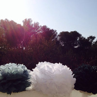 Set of 3 Tissue Pom Poms Party Decoration Paper Pompoms Tissue Poms Wedding Decorations Ceremony Decor Paper Flower White Gray