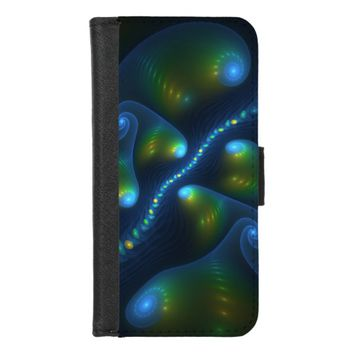 Fantasy Lights Abstract Blue Green Yellow Fractal iPhone 8/7 Wallet Case