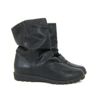 BASS black Leather winter Boots 90s SLouch Insulated Vintage ankle boots women's Snow Shoes size 8.5