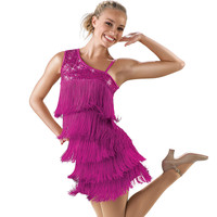 Sequin-One Shoulder Fringe Dance Costume; Balera