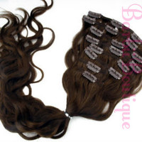 "Super Soft Human Hair Blend * 22"" Dark Brown * 7 Pcs Full Set Clip-Ins * Clip In Hair Extensions 100g * Full Head * 100% Heat Safe"
