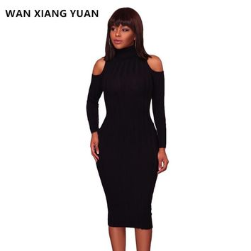 WANXIANGYUAN Women Party Dress 2017 Winter Sexy Off Shoulder Turtleneck Maxi Dress Long Sleeve Sweater Dresses for Women 1020