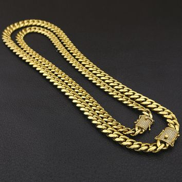 Stainless Steel Cuban Link Chain With CZ Zirconia Triple Lock Luxury Top Quality Necklace 12&14mm