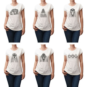 Women Hand Draw Monkeys Printed Short Sleeves T-shirt WTS_02