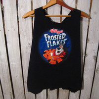 Reconstructed Frosted Flakes T-Shirt, Boyfriend T-shirt, Cut back with Tieback, Navy Blue