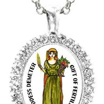 Goddess Demeter of Fertility Cz Crystal Silver Necklace Pendant