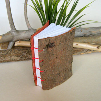 Fir bark cover small coptic handmade journal , handmade small  pocket book with blank pages and fir tree bark covers,