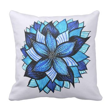 Beautiful Abstract Blue Flower Ink Drawing Throw Pillow