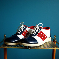 Vintage Women's Red, White and Blue Shoes- Size 6