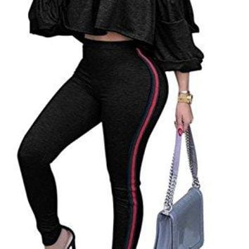 Remelon Womens Sexy Off Shoulder Ruffle Puff Sleeve Striped Bodycon 2 Piece Outfits Jumpsuits Crop Top and Pants Set