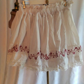 Flower's From Granny's Kitchen Skirt ~ Upcycled, Recycled, Small, Med, Large, Coachella, Festival, BoHo, Repurposed, OOAK, Bohemian