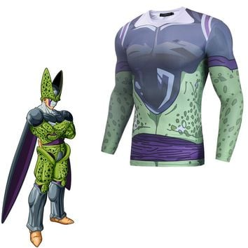 Dragon Ball Cell Cosplay Costume 3D Print T-shirt Japanese Anime 3D Printed T-shirt  Clothes
