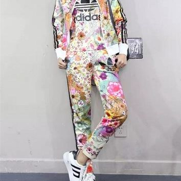 """Adidas"" Women Casual Floral Print Zip Cardigan Short Sleeve Trousers Set Three-Piece Sportswear"