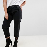 ASOS CURVE FLORENCE Authentic Straight Leg Jeans In Washed Black at asos.com