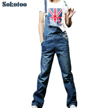 Sokotoo Men's plus large size denim overalls Casual loose jeans jumpsuits for man Bib pants Free shipping