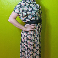 1990's Pussy Bow Floral Print 40's Style Dress M