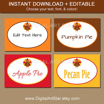 Thanksgiving Buffet Cards - EDITABLE Printable Thanksgiving Food Labels - Thanksgiving Dinner Place Cards - Thanksgiving Labels - INSTANT