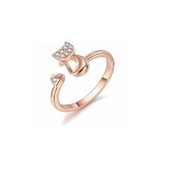 Delicate Gold Tone Lovely Cat Shape Clear Ring