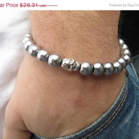 ON SALE Silver Hematite Bracelet , Men Hematite Bracelet , Beaded Scull Bracelet , Men Skull Silver Bracelet , Free Shipping
