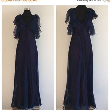 HALF OFF Vintage 1970s Navy Midnight Blue Perma Pleat Chiffon Maxi Dress S