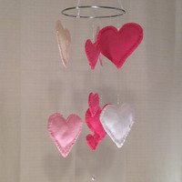 Felt Heart mobile, READY TO SHIP! Valentines, Baby Nursery mobile, Crib mobile, Wedding, Happy Birthday, Gift. All occasion lullaby mobile.