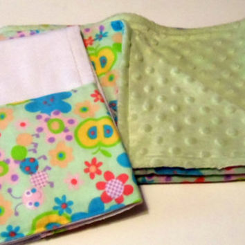 Baby Blanket with Burp Cloth Flower Flannel and Minky