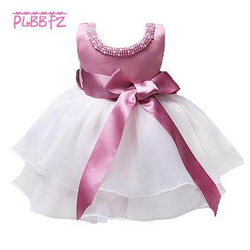 Summer Tiered Patchwork Cute Little Baby Girls Wedding Dress Infant Pearl Mesh Baby Communion Prom Ball Gown With Bow L1829XZ