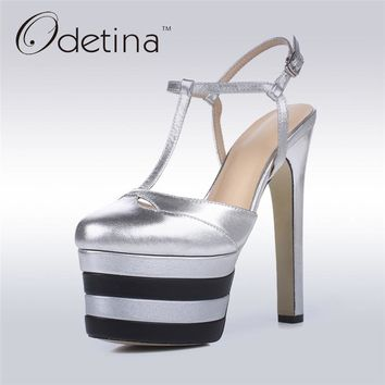 Odetina 2017 New Brand Genuine Leather Extreme High Heels Sexy Platform Pumps Women Ankle Strap Summer Party Shoes Big Size 42