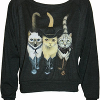 "Hipster Cats in Boots Pullover Slouchy ""Sweatshirt"" Top American Apparel Black S, M, or L"