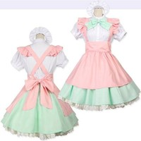 VONE05O Alice in Wonderland Fantasy Cosplay Maid Costume Halloween Party Costumes Fancy Dresses for Women Lolita Dress Plus Size