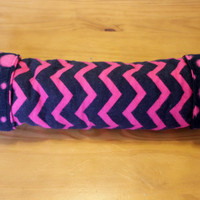 Hot pink and black chevron hedgehog and small animal play tunnel with polka dot fleece lining