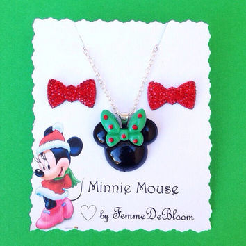 Handmade Special Holiday Edition Green Bow Minnie Mouse Inspired Necklace and Red Bow Earring Set