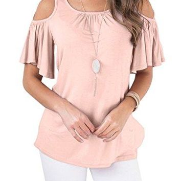 Adreamly Womens Ruffled Sleeve Strappy Cold Shoulder Tops Basic T Shirts
