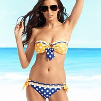 Betsey Johnson Swimsuit, Let's Polka Bikini Top & Bottom
