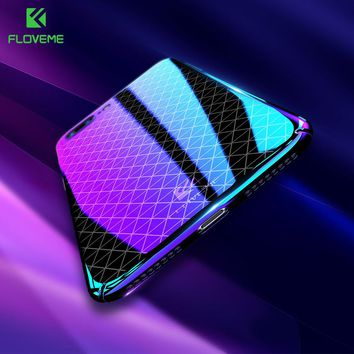 FLOVEME Luxury Ultra Thin For iPhone 6 Case For iPhone 7 6 6s 8 Plus Cases Blue Light Grid Glitter Back Cover For iPhone 6 Coque