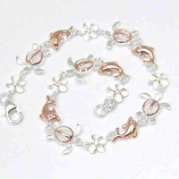 """ROSE GOLD PLATED 2T SILVER 925 HAWAIIAN PLUMERIA TURTLE DOLPHIN ANKLET 9 1/2"""""""