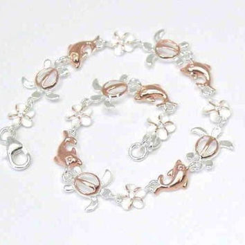 ROSE GOLD PLATED 2T SILVER 925 HAWAIIAN PLUMERIA TURTLE DOLPHIN ANKLET 9 1/2""