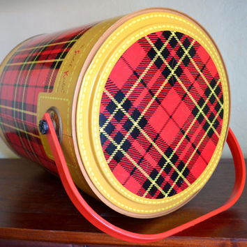 Vintage Beverage Cooler, The Skotch Kooler, Red and Black Tartan Plaid, 4 Gallon De Luxe, Great Condition! 1950s