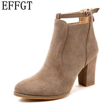 EFFGT 2017 New Autumn Winter Women ankle Boots Solid European High heel boots Ladies suede Leather Fashion Martin Boots H90