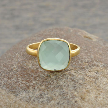 Aqua Chalcedony Ring-Sterling Silver Ring-Faceted 12mm Cushion Ring-Micron Gold Plated Gemstone Ring-Bezel Statement Ring-Gift for Her