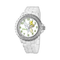 Disney Tinker Bell Silver Tone Simulated Crystal Watch - Women (White)