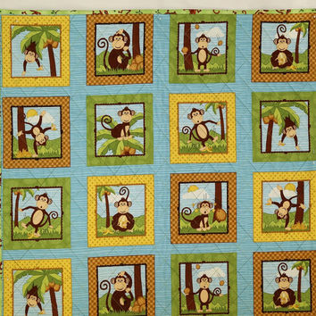 Monkey Baby Quilt, Baby Boy or Girl Quilt, Animal Nursery Quilt, Blue and Green Crib Quilt, Baby Blanket, Block Baby Quilt