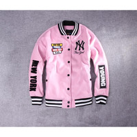 Hot Deal On Sale Sports Jacket Winter Pink Embroidery Thicken Baseball [10507726023]