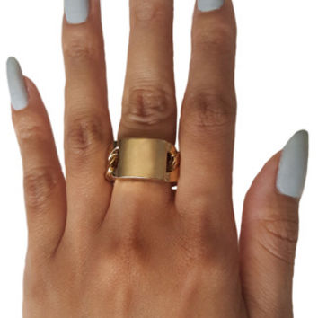 ID Chain Ring in Gold