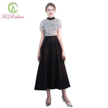 Banquet Elegant Evening Dress The O Neck Black White Color Lace Hollow Simple Tea-length Party Prom Dresses