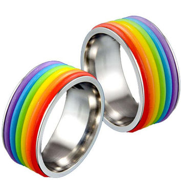 2016 Stainless Steel Lesbian Bisexual Lgbt Gay Pride Homosexual Rings Same Sexuality Rainbow Ring Gay Jewelry for Men and Women